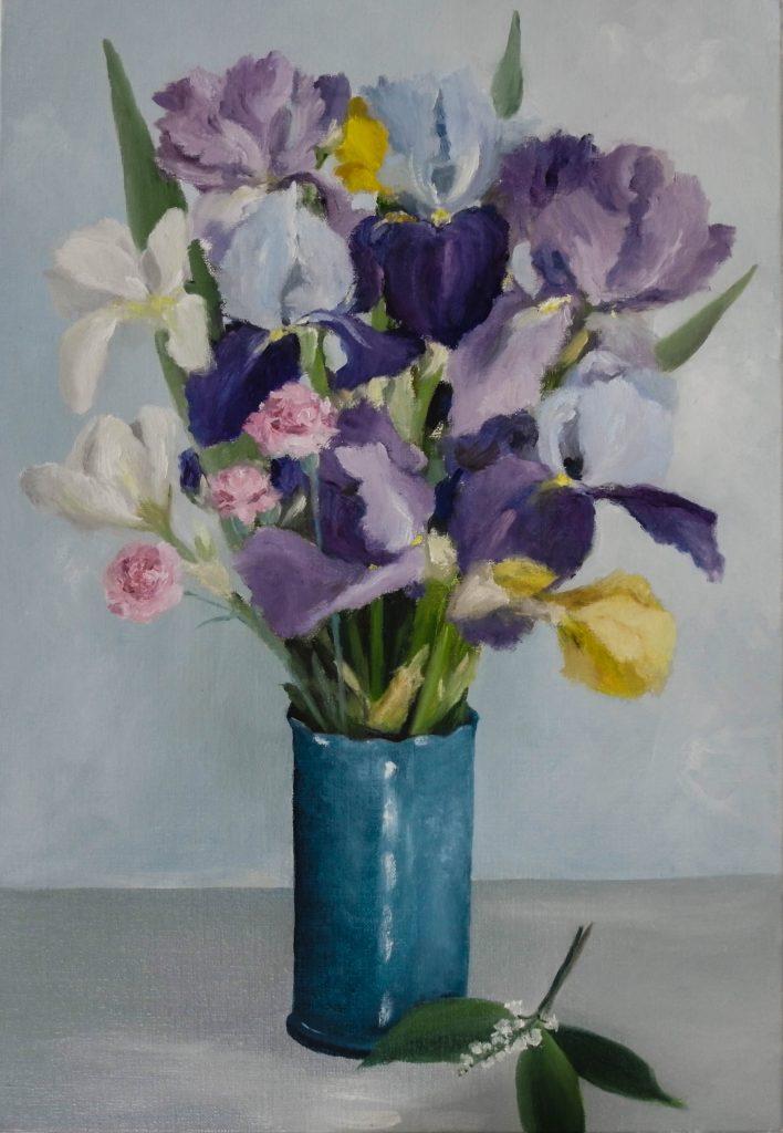 Iris-dans-un-vase-bleu