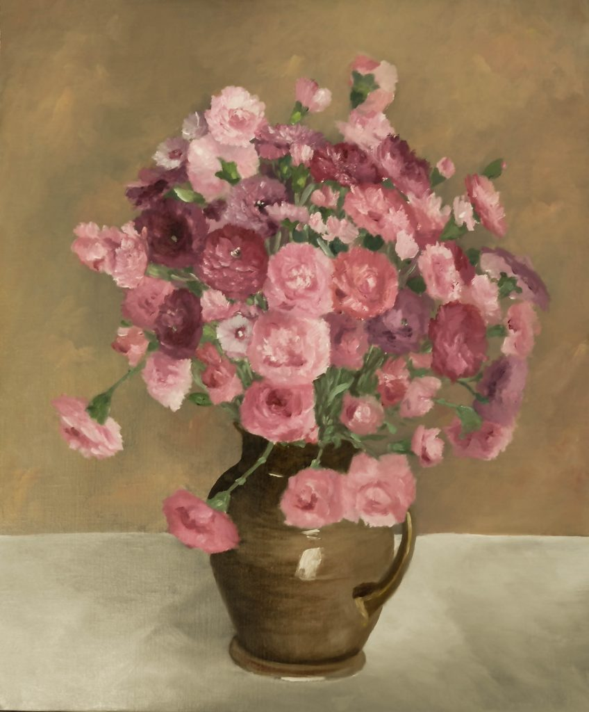 Oeillets-roses-dans-un-vase